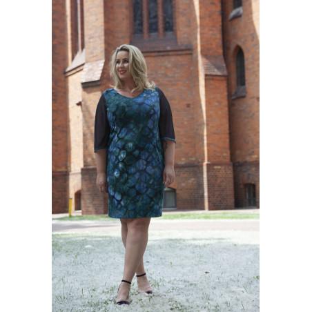 Sukienka we wzory z tiulowymi rękawami