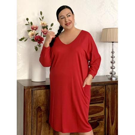 Czerwona sukienka z dzianiny z dekoltem w serek